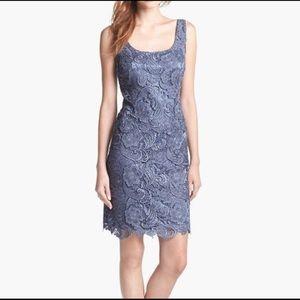Patra Ornate Tiered Scalloped Lace Sheath Dress